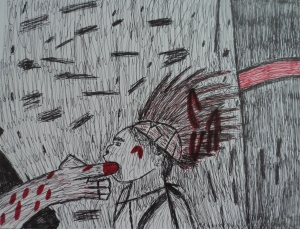 "One of my most recent artworks, ""Blood Relations"" in pen and ink."