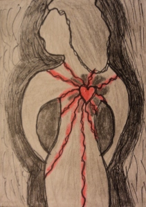 """Heart Energy"" mixed media on paper."