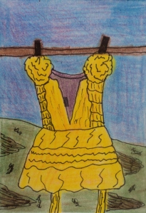 """Yellow Dress"" mixed media on paper."