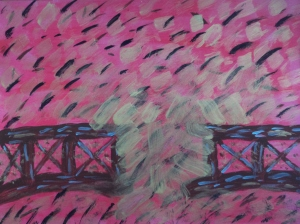"""Burning Bridges"" acrylic on paper, 9"" x 12""."