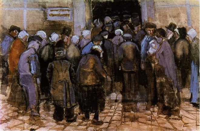 """The State Lottery Office (The Poor and Money)"" watercolor painting by Vincent Van Gogh."